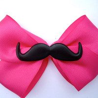 Pink Mustache Bow /Hair Accessory