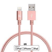 LAX Gadgets Extra Long, 2 in 1 Apple MFi Certified Nylon Lightning to USB iPhone Charger Cable for iPhone 5, 5s, 6, 6s, 6s Plus / iPad Air, Mini / iPod | 6 Ft Cord, Rose Gold - Walmart.com