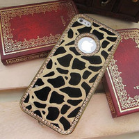 Swarovski Diamond Crystal iPhone 5 Case Cover // Leopard Color Leather Gold Frame iPhone Case // Unique iPhone 4s Hard Case
