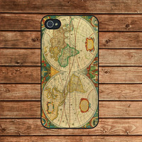 iphone 4 case,iphone 4s case,iphone 4 cover--vintage style world map,in plastic or silicone case
