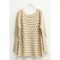 New Arrival Winter Fashion Fish Scale Patterns Long Sleeve Sweater For Women