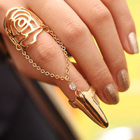 Blossom Flower Nail and Finger Chain Fashion Ring (Gold)   LilyFair Jewelry