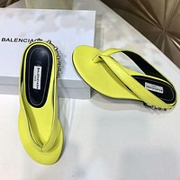 Balenciaga 2018 summer new thin belt toe heel rivets sandals and slippers F-RCSTXC yellow