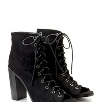 Lace-Up Faux Suede Booties