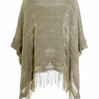 Knitted poncho sweater tassel pullover cloak cape