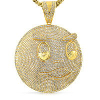 Chief Keef Style Pendant Blood Money 14k Gold Tone Full Iced Out Free Necklace