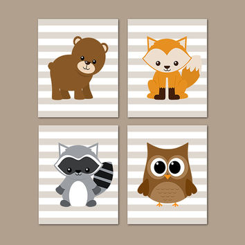 WOODLAND Nursery WALL ART, Woodland Animals, Woodland Baby Shower, Boy Nursery Decor Raccoon Bear Owl Fox Set of 4 Prints Or Canvas