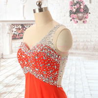Sexy One Shoulder Beading Sweetheart Bodice Cut Out Back Sweep Train Prom Dresses Evening Dresses/ Prom Gown/X015