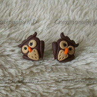owl stud earrings polymer clay fimo handmade