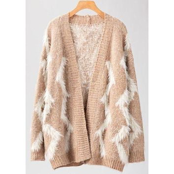 Fuzzy Chevron Open Knit Cardigan
