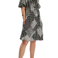 Topshop Patchwork Scarf Print Ruffle Bardot Dress | Nordstrom