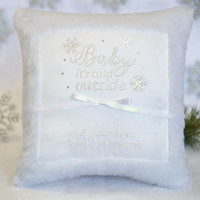 Baby It's Cold Outside Faux Fur Winter Snowflake Rhinestones White Satin Ring Bearer Pillow