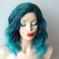 Pastel Teal ombre wig. Beach wavy hairstyle Teal ombre colored wig. Durable Heat resistant synthetic wig.