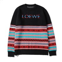 LOEWE fashion sells casual striped jacquard sweaters for men and women