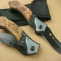 Whole - Browning 338 Falcon 3 Eyes Hunting Utility knife Camping knife 440C Blade Blade Aluminum Shadow wood Handle knife knives