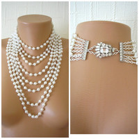 Multistrand Pearl Necklace, Statement Necklace, Art Deco, Great Gatsby Jewelry, Pearl Choker, Bridal Pearls, Large Pearl Necklace, Downton
