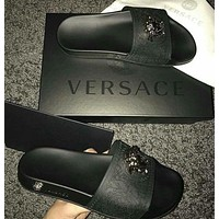 Versace Women Men Fashion Casual Logo Print Slipper Shoes Full Black G