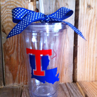 Louisiana Tech 16 oz personalized tumbler with straw and matching bow