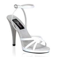 White Strappy High Heel Ankle Wrap Sandal - 7