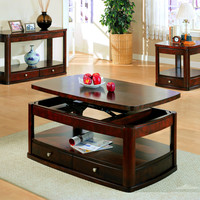 Dark Cherry End Table with One Drawer