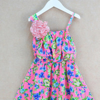 Little Girls Ravishing Pink Summer Smart Dress