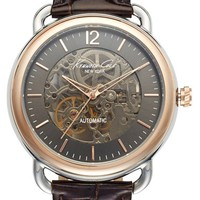 Men's Kenneth Cole New York Automatic Leather Strap Watch, 43mm