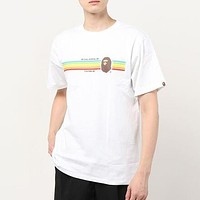 BAPE simple colorful pattern printing T-shirt men and women short-sleeved top