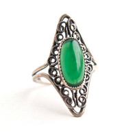 Vintage Sterling Silver Green Glass Ring - Beau Adjustable Filigree Green Stone Costume Jewelry / Emerald Green Statement