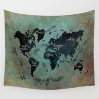 World Map text Wall Tapestry by Jbjart | Society6