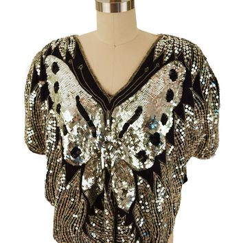 80s Black Silver Sequined Butterfly Top