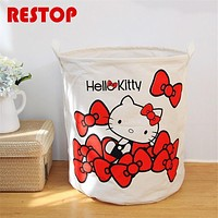 40x50cm Large Hello Kitty Laundry Basket Canvas Washing Laundry Bag Hamper Storage Dirty Clothing Bags Toy Storage Bag RES630
