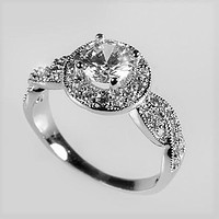 Sara 1ct Round CZ Halo Engagement Ring | 1.8ct