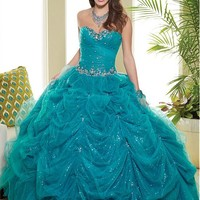 [189.99] Chic Tulle & Sequin Lace Sweetheart Neckline Floor-length Ball Gown Quinceanera Dress - Dressilyme.com
