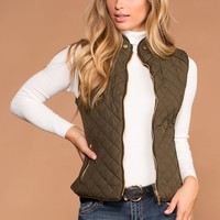 Vail Quilted Vest - Olive