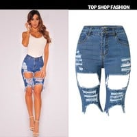 Hot Shorts Sexy Women Elastic Hole Short Pants Denim  Ripped Jeans Trousers Button Pocket Hole Light Blue  HotAT_43_3