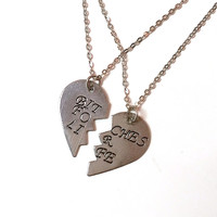 """""""B*tches for Life"""" Best Friends Heart Necklace Set - Antiqued Silver"""