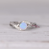 Womens Sterling Silver White Opal Ring, Silver Opal Ring,Lap Created Opal Ring with Cubic Zirconia,Promise Ring for Her,Opal Engagement Ring