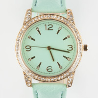 Faux Leather Rhinestone Watch Mint One Size For Women 26557952301