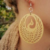 Natural Wood Phoenix Earrings by Windsday on Etsy
