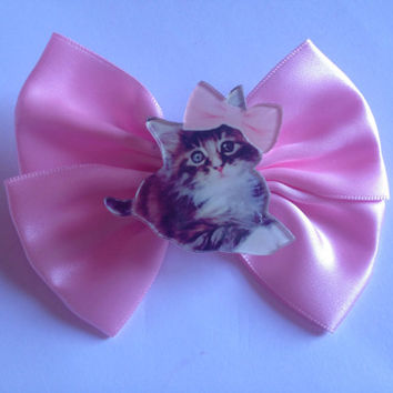Pastel Pink Kitty Hair Bow Kitten Cat Cute Fairy Kei Kawaii Sweet Lolita Feline