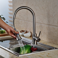Pull Out Brushed Nickel Kitchen Faucet Swivel Spout