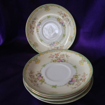 Meito NSP Japan Saucer, Vintage Nagoya Seito Porcelain, 1940s, 50s, Hand Painted Floral Dinnerware, MEI345 Pattern
