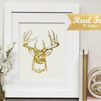 Real Gold Foil Print With Frame (Optional) Golden Buck, Deer Head, Gift For Dad, Hunting Decor, Gallery Wall, Office Art, Wild Animal Print