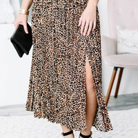 Accordion Leopard Print Skirt