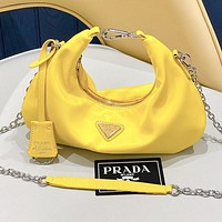 Alwayn Prada cloud bag hobo hot bag chain bag hobo armpit bag, cloud bag yellow