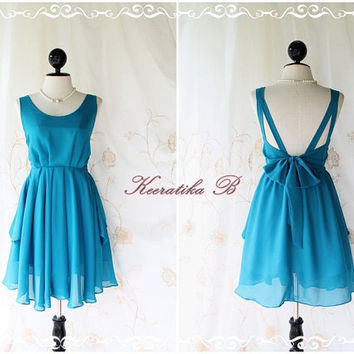 A Party V Shape - Cocktail Prom Party Dinner Wedding Night Dress Turquoise Yale Blue Lined Deep Back Bow Tie Natural Sexy Charming Looks
