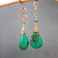 """Idocrase linked with turquoise, 1-1/2"""" Earring Gold Or Silver"""