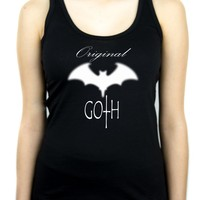 Original Goth w/ Blurred Bat Women's Racer Back Tank Top Shirt