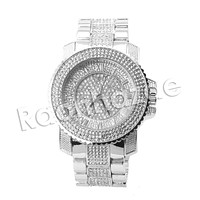HIP HOP RAONHAZAE CHRIS BROWN LUXURY SILVER FINISHED LAB DIAMOND WATCH