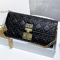 Dior New fashion leather chain shoulder bag crossbody bag Black